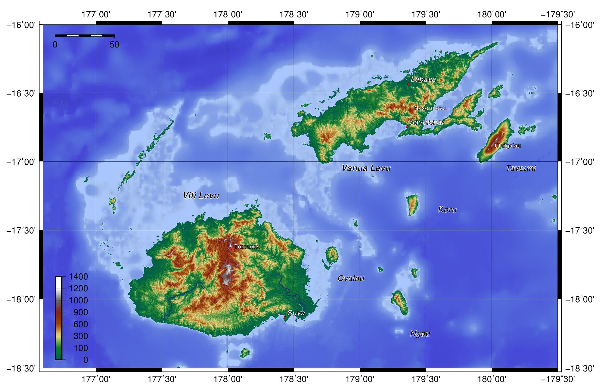 Topographie des îles Fidji