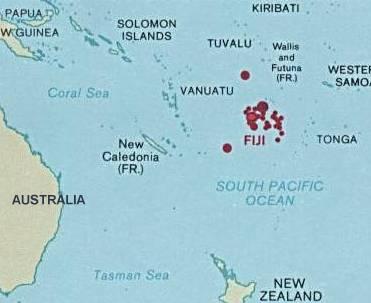 Situation géographique des îles Fidji