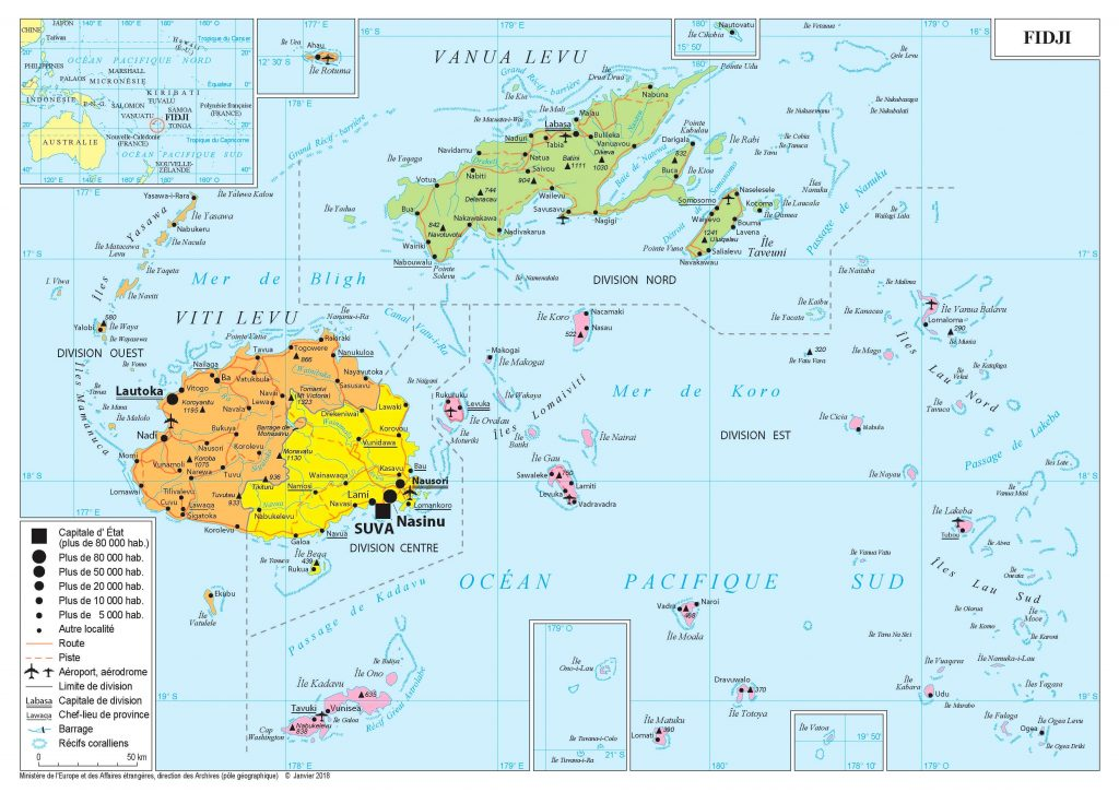 Carte en détails des îles Fidji
