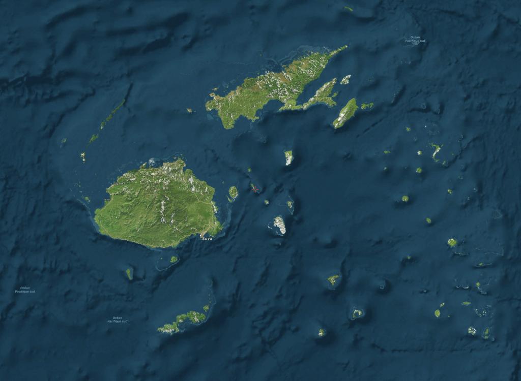 Carte des reliefs des îles Fidji